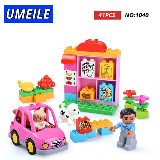 Friends Brick Set Pink City Girl Princess Family House Kids Toys Building Block Compatible with Duplo Gift