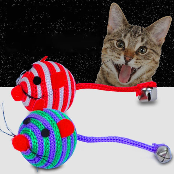 Lovely Stripe Nylon Rope Round Ball Mouse Long Tail Bell Pet Cat Bite Play Toy