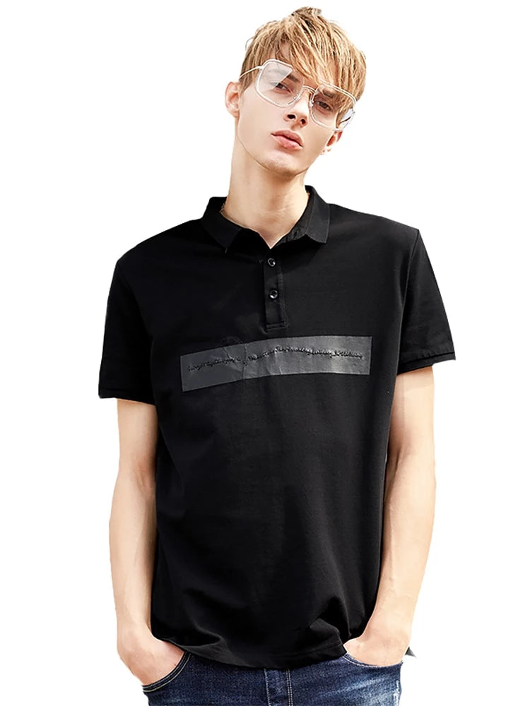Pioneer Camp New design summer polos men brand-clothing fasion black polo shirt male top quality stretch casual ADP801080