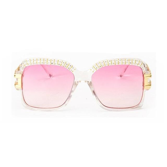 ROYAL GIRL Designer Women Sunglasses Retro Crystal Brow Square  Sun Glasse Safety Driving Goggles UV400 Female Clear ss186
