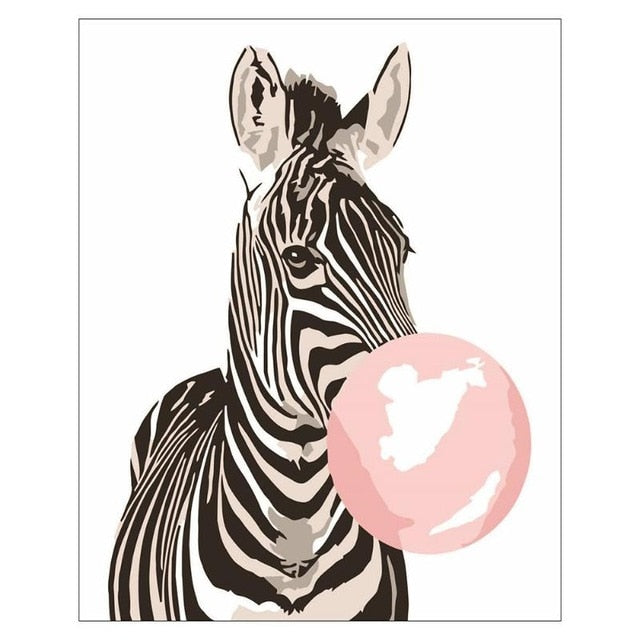Framed Pictures Painting 3D DIY of Animal Bubble Gum Coloring Paint By Number Oil Painting Canvas Set Home Decor for Living Room