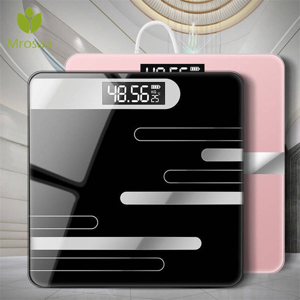 Floor Body Scale Glass Smart Electronic Scales USB Charging LCD Display Digital Weight Scale
