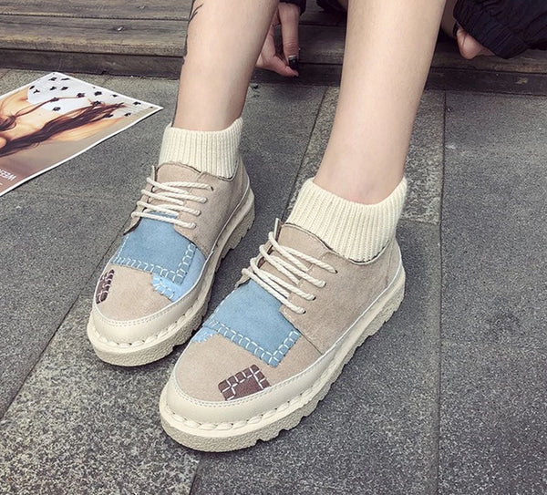 HEE GRAND 2018 New Women Leisure Fashion Flats Canva Shoes Casual Outdoor Women Working Shoes Women Lace-up Shoes XWD7051