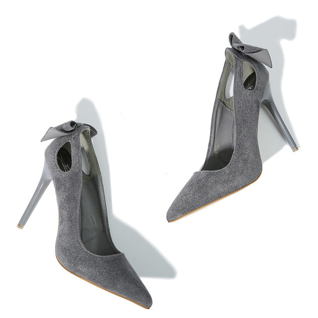 NIS Women Pumps, Thin Sexy High-heeled Shoes, Hollow-out Bowknot Tassel Suede Pointed Toe Shoe, Sweet Elegant Ladies Slip On