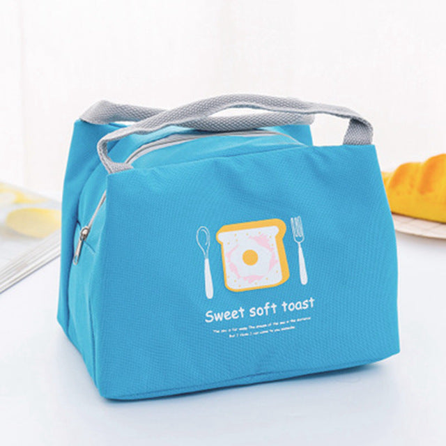 Girl Portable Cartoon Cute Zipper Lunch Bag Waterproof Insulated Cold Canvas Picnic Totes Carry Case For Kids Women Thermal Bag