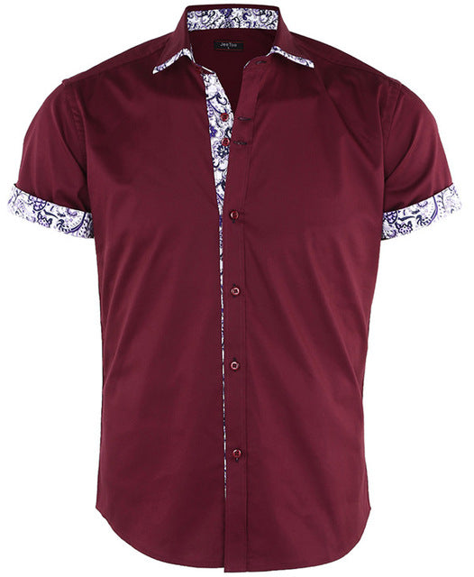 Dioufond Men's Short Sleeve Floral Print Patchwork Button Down Casual Shirts Solid Work Slim Fit Shirt Plus Size Mens Clothes