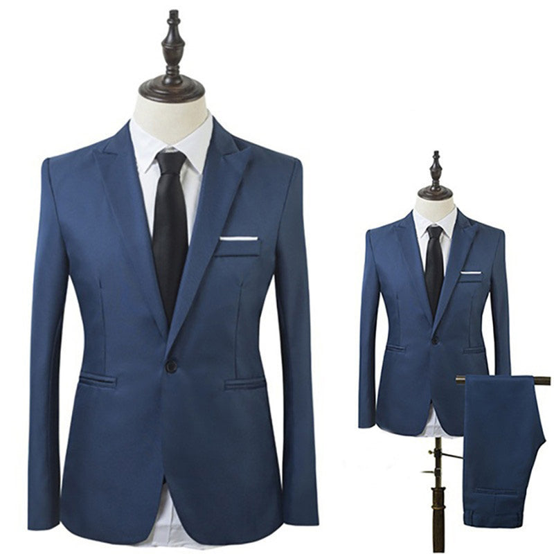 Men Slim Fit Business Leisure One Button Formal Two-Piece Suit Men for Groom Wedding suits Costume Homme