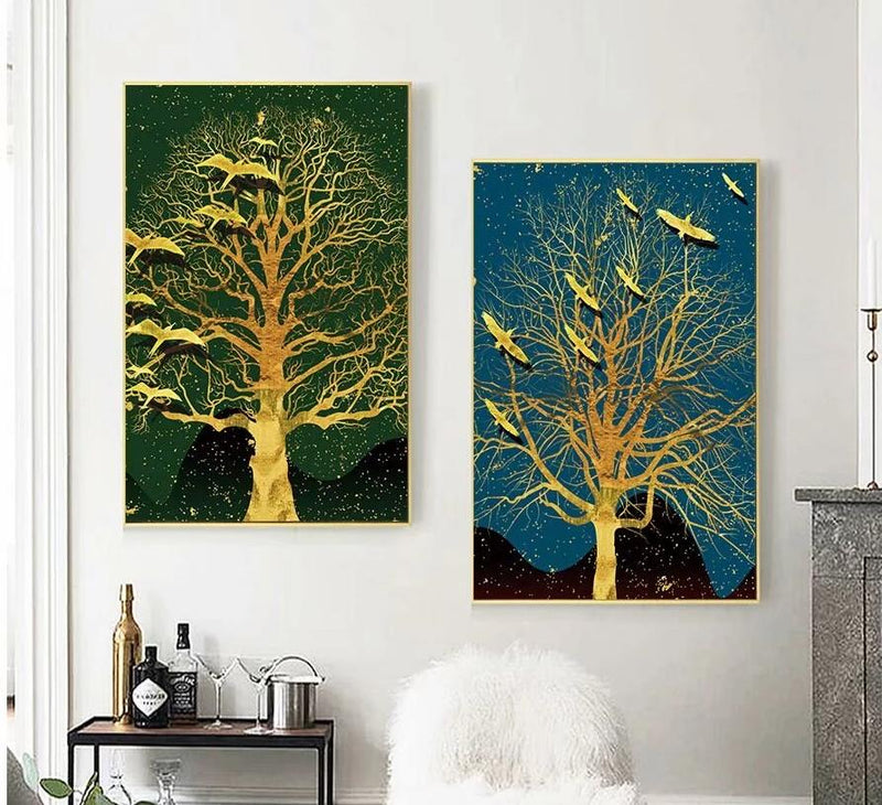 Canvas Print Painting Wall Art Picture Wallpaper Wall Sticker Home Wedding Hotel Restaurant Decoration Unframed 2Pcs Tree Modern