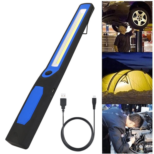 Rechargeable USB Working Light LED Torch Car COB Magnetic Repair Lamp Camping Lanterna Hanging Hook Lamp wedge