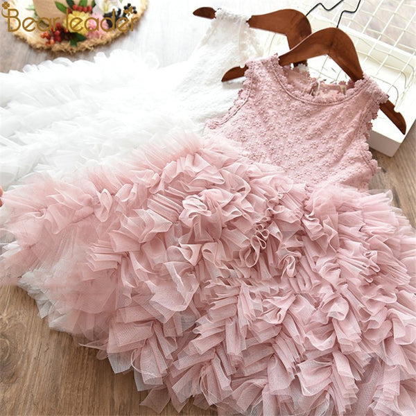 Bear Leader Formal Clothes Kids Fluffy Cake Smash Dress Girls Clothes For Christmas Halloween Birthday Costume Tutu Lace Outfits