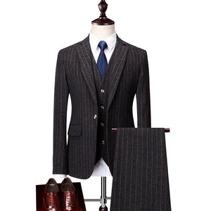 Men's suit winter new fashion groom wedding dress high-end party business striped slim suit 3 piece set (coat+ vest+ pants)