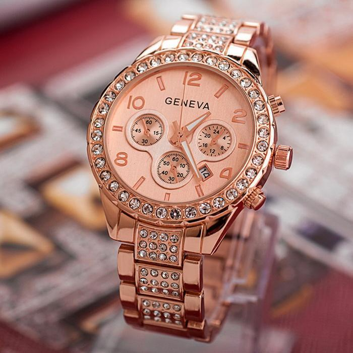 【Buy one get one free】Luxury Iced Out Pave Floating Crystal Quartz Calendar Rose Gold Stainless Steel Watch Girls Gold ladies Hot Sale Flowers brand