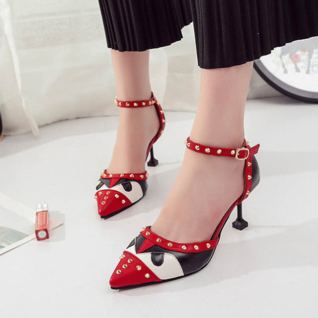 HEE GRAND 2019 New Spring Women Rivet High Thin Heels Pumps Comfortable Fashion Styles Slip On Shallow Shoes Size 34-39 WXG663
