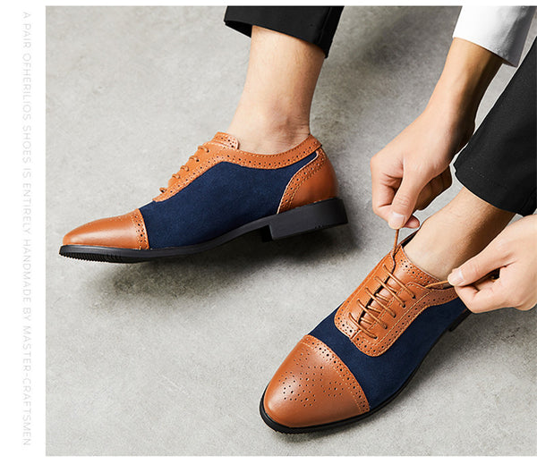New 2019 Luxury Leather Brogue Mens Flats Shoes Fashion Men Oxfords Shoes Brand Dress Shoes Men's Shoes Loafers Big Size 38-48