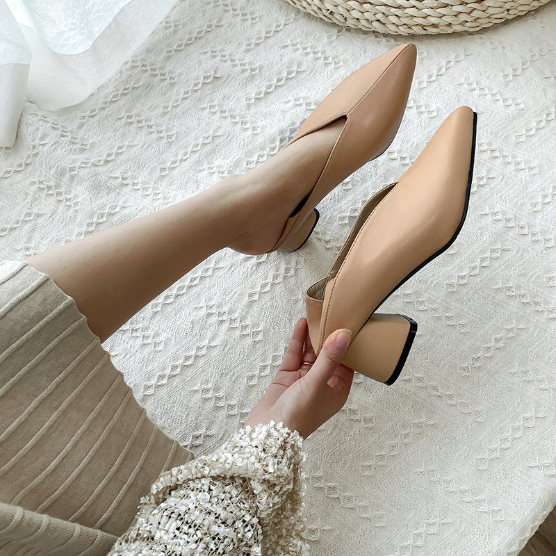 QUTAA 2019 Women Pumps Fashion Mules Women Shoes Square High Heel Pointed Toe Pu Leather Casual Classic Ladies Pumps Size 34-43