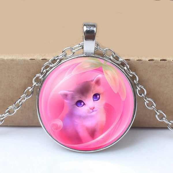 High Quality Girls Silver Plated Cute Cat Glass Pendant Necklace For Women Hot Sale Lovely Kids Cat Necklace Jewelry