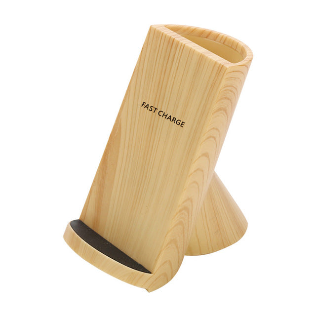 New Home Wooden Pen Holder Wireless Fast Charging Stand Dock Mobile Phone Charger Accessories