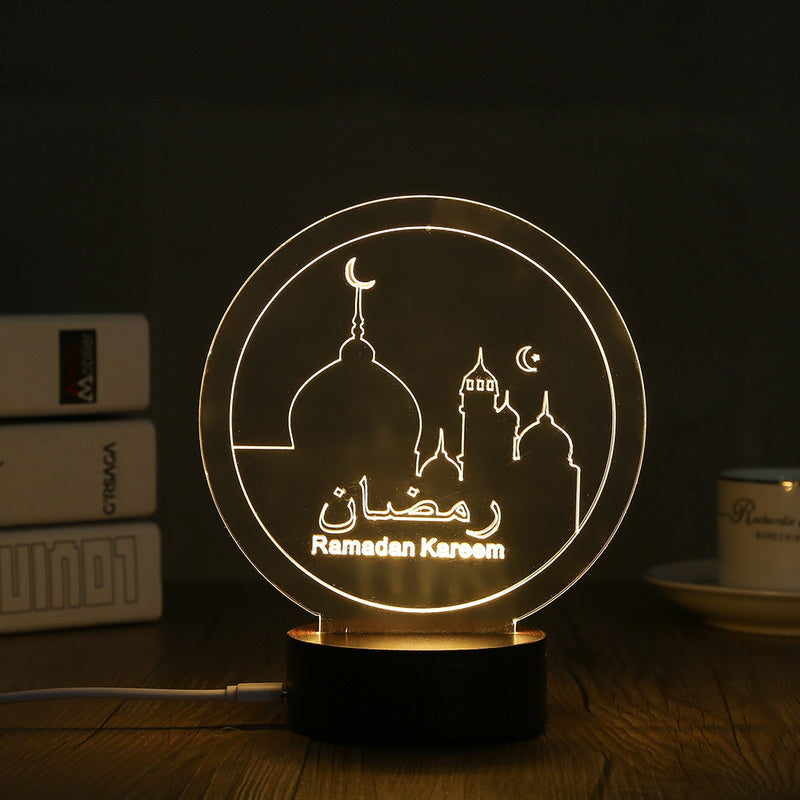 USB Powered Creative 3D EID Mubarak LED Night Light 3D Ramadan Mubarak Desk Light For Eid al-Fitr Party Decoration Light