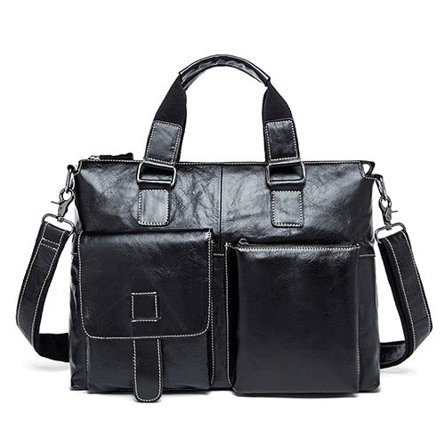 WESTAL Business men's Briefcases Genuine Leather Men's Bag Male 14 Laptop Bags Messenger Bag for Men Leather Briefcase lawyer