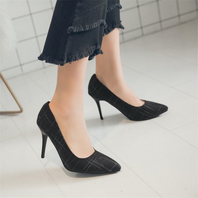 Big Size Women's Shoe 9cm MOC 2 High Heels Pumps Party Shoes For Women Canvas Wedding Shoes chaussure femme