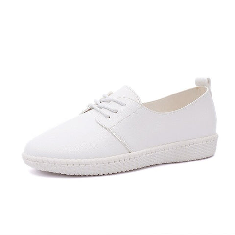 2019 New Women Shoe Casual Leather Shoes For Women Flat Shoes Ladies Lacing Loafers Zapatos Mujer sneakers children's girl shoes