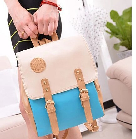 Vogue Star Hot New 2019 Fashion Contrast Color Leather Backpack Women Backpacks Sweet Beautiful Gril'S School Bag YK40-384