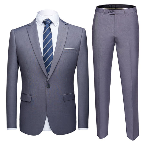 2019 Mens Suits Set Grey Formal Prom Blazer with pant Marriage Tuxedo male 2 Piece suit set Terno wedding mens suit slim fit