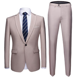 Generic Mens Slim Fit Single Button 2-Piece Blazer and Trousers Set