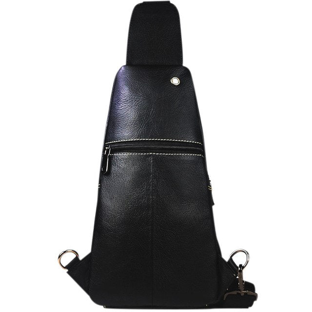 BULLCAPTAIN Fashion Genuine Leather Crossbody Bags men Brand Small Male Shoulder Bag casual music chest bags messenger bag 085
