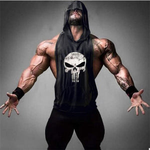 (Buy 1 Get 1 FREE)Skull Bodybuilding Stringer Tank Tops men Gyms Stringer Shirt Fitness Tank Top Men Gyms Clothing Cotton Vest hoodies