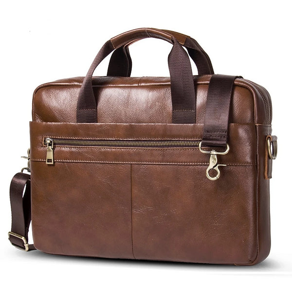 "CONTACT'S new 100% genuine leather men's briefcase for 14"" laptop business bag male shoulder bags bolso hombre messenger bag"
