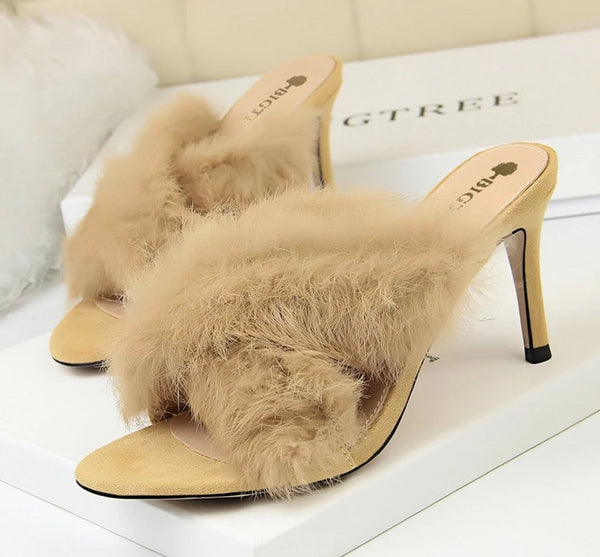 sexy shoes fur slippers dress shoes women mules high heels elegant shoes fetish high heels bigtree shoes black heels ayakkabi