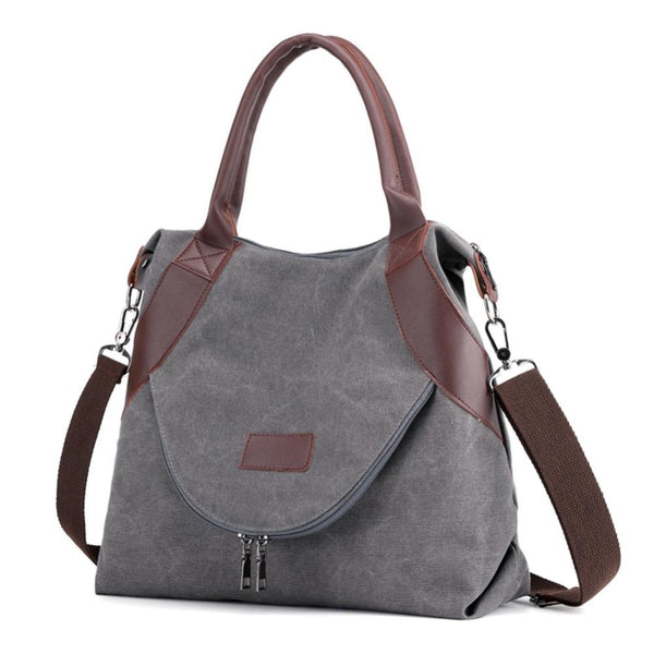 Brand Large Pocket Messenger Bag Casual Tote Women's Handbag Shoulder Handbags Canvas Leather Capacity Bags For Women Sac A Dos