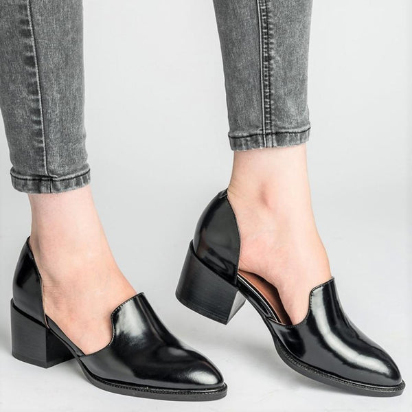 EOEODOIT Spring Summer Leather Pumps Women Med Chunky Block Heel Shoes Slip On Pointed Toe Casual Plus Size Lady Female Shoes