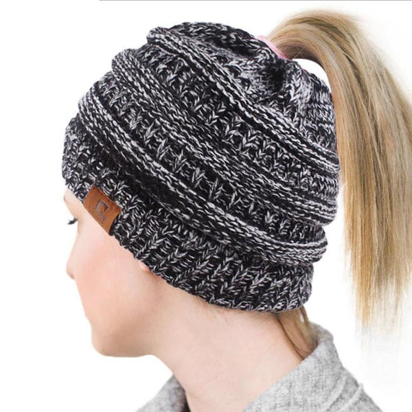 1PCS Drop Shipping 2019 Soft Knit Ponytail Beanie Warm Winter Hats For Women Beanie Hat Stretch Cable Messy Bun Hats Ski Cap B4