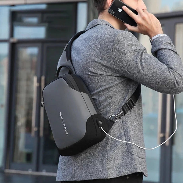 【extra 10% off】Mark Ryden New Anti-thief Crossbody Bag Waterproof Men Sling Chest Bag Fit 9.7 inch Ipad Fashion Shoulder Bag