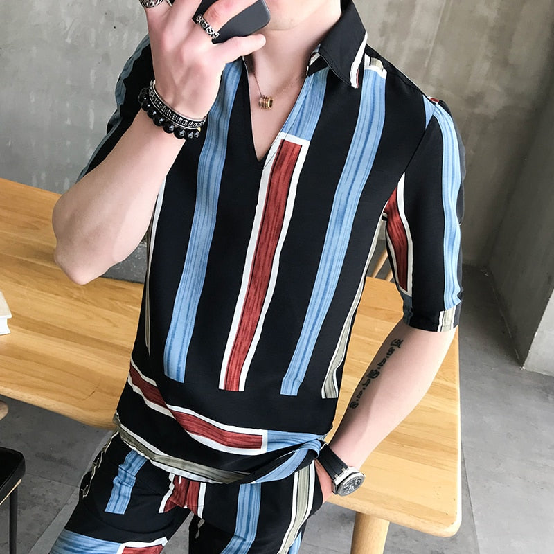 Fashion stripe 2pcs set shirt and shorts pullover summer shirt men and short Casual Erkek Giyim Slim Fit Social Club Outfits