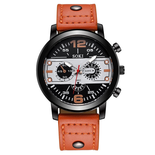 Men's watch Couple Leather Band Analog Quartz Round Business Wrist Watch Man watches mens 2019 relogios masculinos