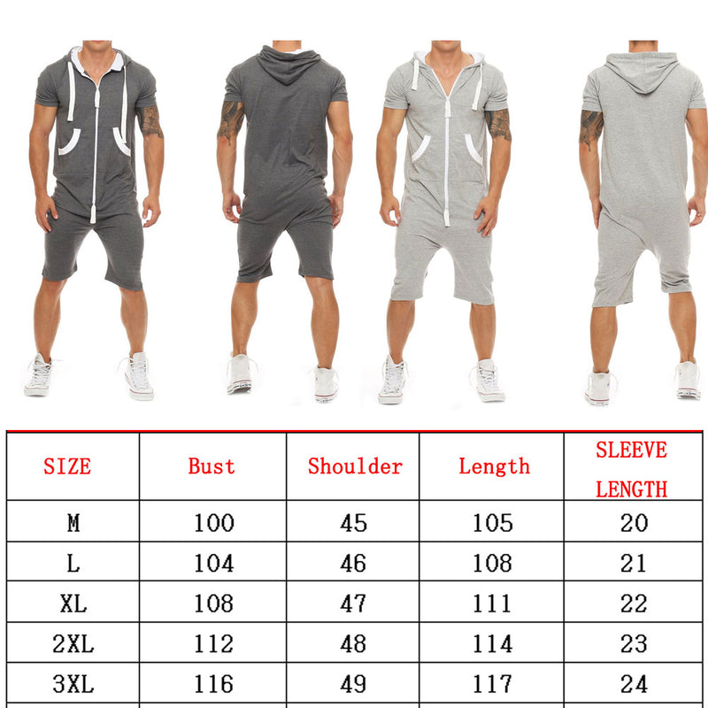 Stylish Men Short Sleeve Shirts Pants Romper Jumpsuit One Piece Shorts Playsuits