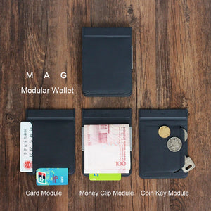 Modular Wallet Magnetic User-Defined Card Wallet Card Holder Purse Men Travel Wallets
