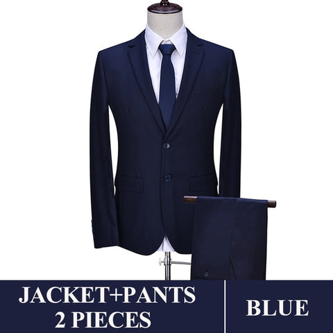 2019 Men Business Suit Slim fit Classic Male Suits Blazers Luxury Suit Men Two Buttons 2 Pieces(Suit jacket+pants)