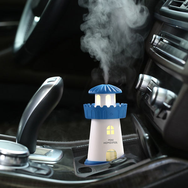 Automobile Humidifier Air Purifier Car Ornament 150ml Lighthouse Auto Interior Night Light Tower Humidifier Household Mist Maker