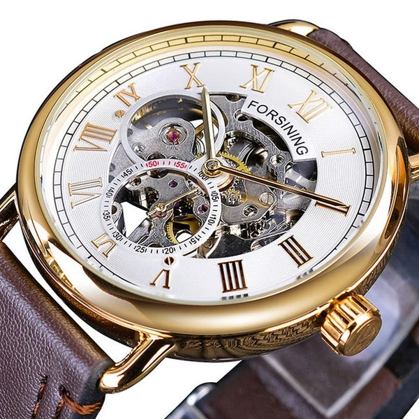Classic Black Golden Openwork Watches Skeleton Mens Mechanical Wristwatches Top Brand Luxury Black Genuine Leather