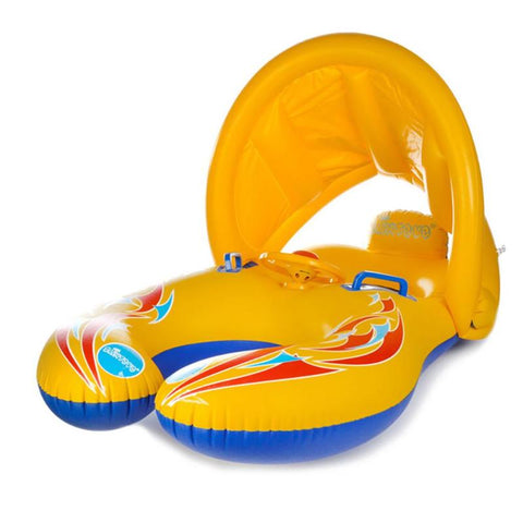 Mother Kids Swimming Ring Thicken Baby Float Water Double Swimming Pool Beach Seat with Sunshade Water Game Toys for Children