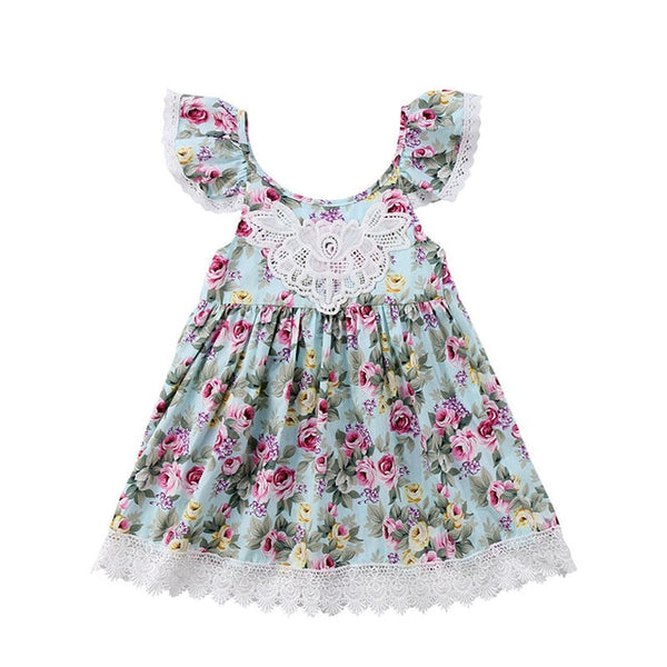 Bear Leader Girls Dresses Summer Open Back Girls Princess Dress Flying Sleeve Kids Dress Sweetie Children Clothes Flower Dress