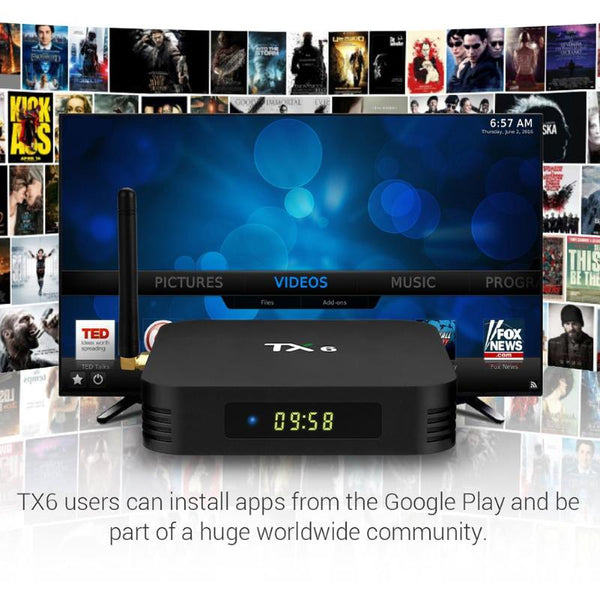 TX6 Allwinner H6 Android 9.0 Quad Core Smart TV Box 4G+32GB 2.4G WiFi Set Top Box Media Player High Frequency 1.5GHz Set Top Box