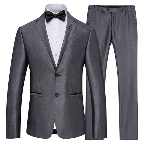 S-4XL New Men's Grey Business Suits Men Casual Groom Groomsmen Wedding Suit+Trousers for Male Autumn Winter