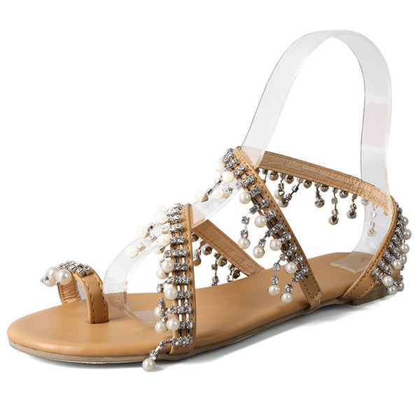 New Pearl Gladiator Women Flat Sandals Slip On Fashion Flip Flops Soft Bottom Peep Toe Ladies Casual Flat Shoes XWZ5840