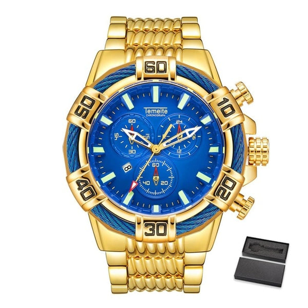 Temeite Relogio Masculino Business Luxury Gold Quartz Analog Men's Watches Sport Watch Men Waterproof Military Male  Wristwatch