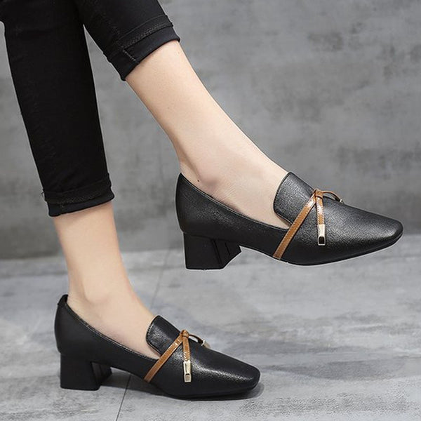Pumps with Square Toe Ladies Pumps Shoes 2019 Women's Shoes Fashion Solid Square Heel Elegant Butterfly-knot  WXG595